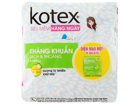 Băng vệ sinh Kotex hàng ngày hương tự nhiên kháng khuẩn.