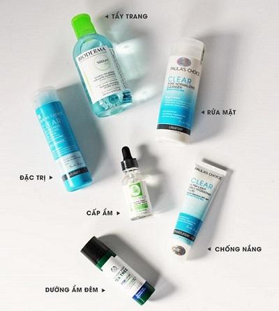 các bước skincare cho da mụn